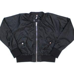 Free People Satin Bomber Jacket
